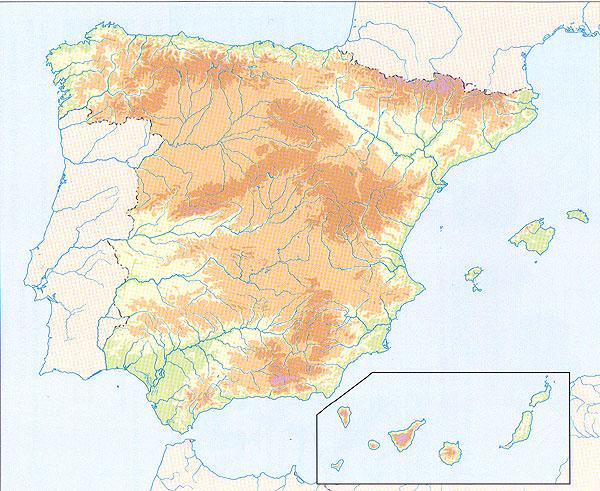 mapa fisico españa mudo GEOGRAFÍA FÍSICA ESPAÑA   http://recursosprohumanidades.jimdo.com